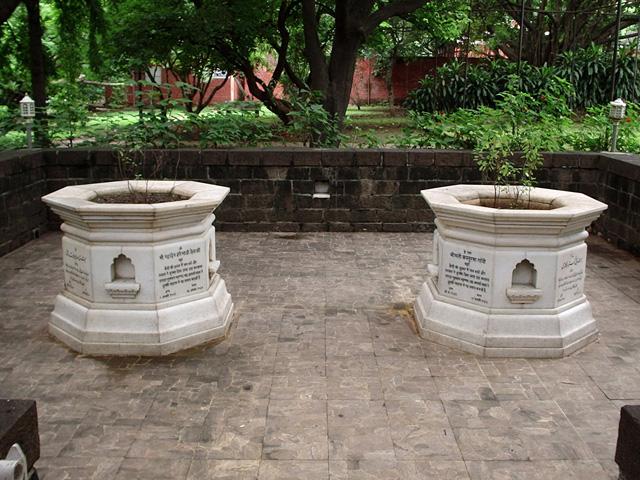Samadhi's to Kasturba Gandhi and  Mahadev Desai, viewed more as a son than a secretary.