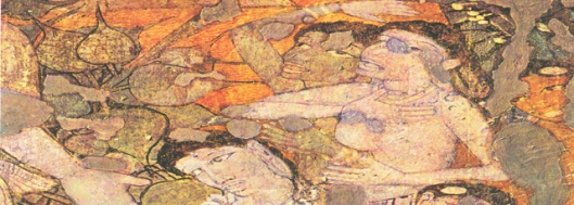 the Wailing Woman, sibi jataka, from cave 1 early of the 6th century, Ajanta Caves.