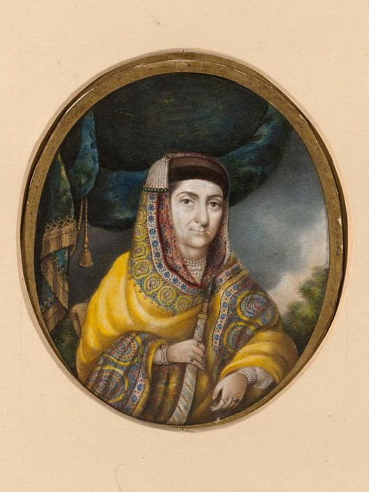 http://en.wikipedia.org/wiki/Begum_Samru#mediaviewer/File:Portrait_of_Begam_Samru.jpg