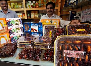 Several shops around mosques in Hydrabad with variety of dates for Ramadan –Photo: Mohd Yousuf