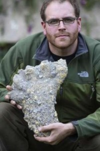 US TV host Josh Gates displays 'Yeti' footprints in Kathmandu November 30, 2007.