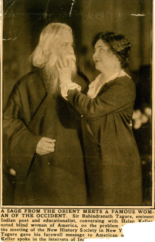"Newspaper clipping. Helen Keller meets Indian poet and educationalist, Sir Rabindranath Tagore. Caption below photograph reads, ""A sage from the Orient meets a famous woman of the Occident. Sir Rabindranath Tagore, eminent Indian poet and educationalist, conversing with Helen Keller, noted blind woman of America, on the problem of India. At the meeting of the New History Society in New York, at which Tagore gave his farewell message to American people, Miss Keller spoke in the interests of India.""  Rights: Samuel P. Hayes Research Library, Perkins School for the Blind, Watertown, MA"