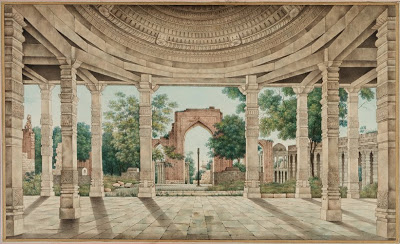 The Mosque of Delhi and the Iron Pillar - Mid 19th Century Watercolor of paper